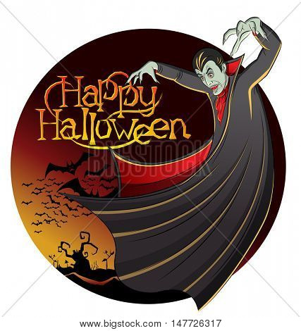 Cartoon Dracula vector. Vampire Dracula Halloween. Halloween background