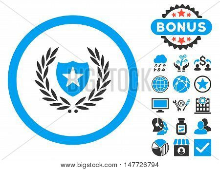 Glory Shield icon with bonus symbols. Vector illustration style is flat iconic bicolor symbols, blue and gray colors, white background.