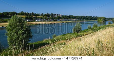 River Loire with chaumont town in background, France. The Loire Valley with its castles is UNESCO World Heritage Site