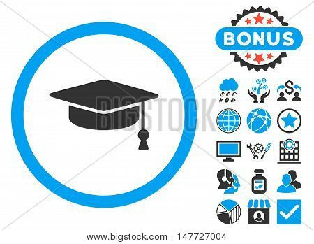 Graduation Cap icon with bonus pictures. Vector illustration style is flat iconic bicolor symbols, blue and gray colors, white background.