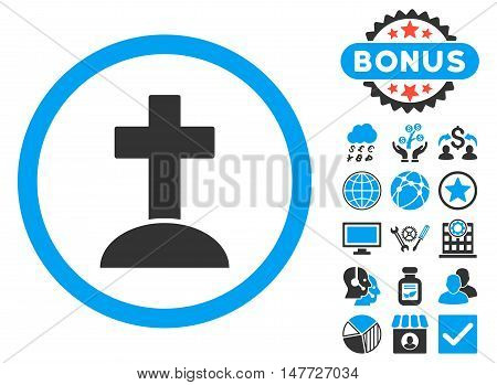 Grave icon with bonus elements. Vector illustration style is flat iconic bicolor symbols, blue and gray colors, white background.