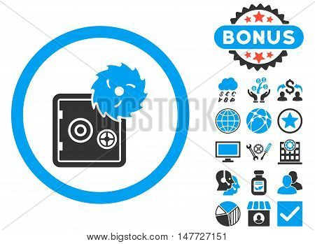 Hacking Theft icon with bonus pictogram. Vector illustration style is flat iconic bicolor symbols, blue and gray colors, white background.