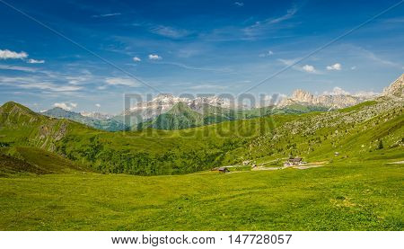 Italy beauty, Dolomites mountains in summer.Passo di Giau.