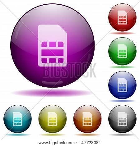 Set of color SIM card glass sphere buttons with shadows.