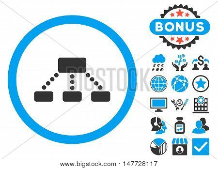 Hierarchy icon with bonus pictogram. Vector illustration style is flat iconic bicolor symbols, blue and gray colors, white background.