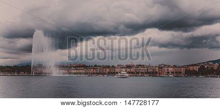 Panorama Lake Geneva, Switzerland The City Of Geneva In The Autumn With Cloudy Sky Before Rain