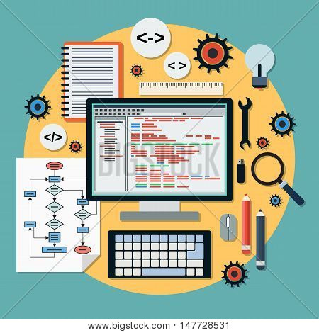 Program coding, SEO algorithm improvement, application development, web programming flat design style vector concept