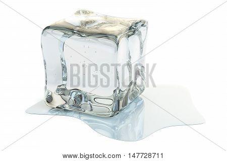 Ice Cube Melting 3D rendering on white