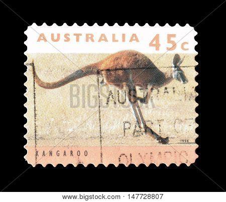 AUSTRALIA - CIRCA 1994 : Cancelled postage stamp printed by Australia, that shows Kangaroo.