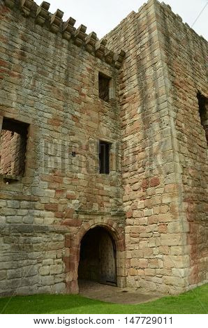 A view of the entrance archway into Crichton castle