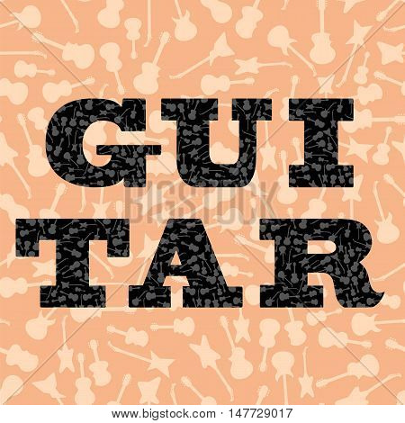 Musical Background. Guitar Silhouettes Seamless Pattern. Decorative Text