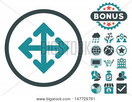 Direction Variants icon with bonus images. Vector illustration style is flat iconic bicolor symbols, soft blue colors, white background.
