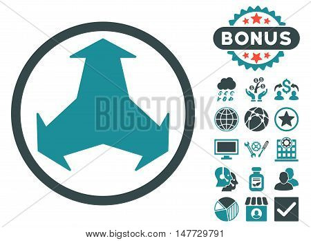 Directions icon with bonus design elements. Vector illustration style is flat iconic bicolor symbols, soft blue colors, white background.