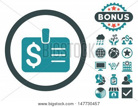 Dollar Badge icon with bonus pictures. Vector illustration style is flat iconic bicolor symbols, soft blue colors, white background.