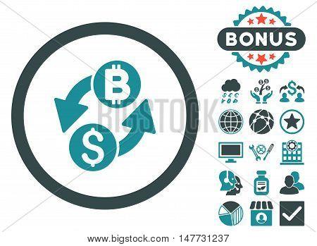 Dollar Bitcoin Exchange icon with bonus symbols. Vector illustration style is flat iconic bicolor symbols, soft blue colors, white background.