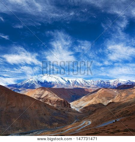 Himalaya mountain landscape along Manali - Leh highway in Ladakh, Jammu and Kashmir State, North India