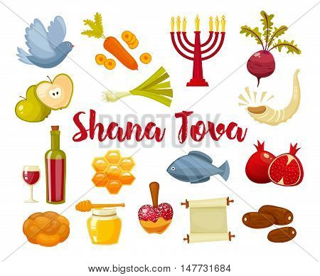 Rosh Hashanah, Shana Tova or Jewish New year cartoon flat vector icons .Traditional symbols of Jewish new year holiday Rosh Hashanah