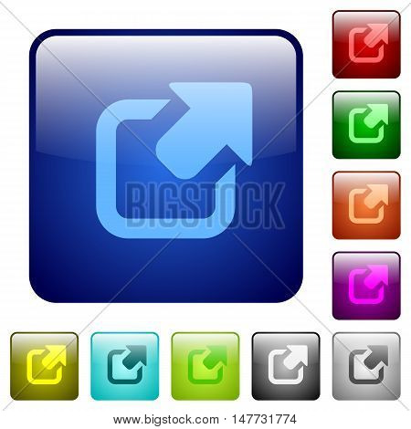 Set of export color glass rounded square buttons