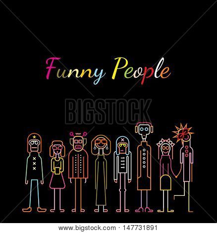 Neon colors on a black background Funny People vector illustration.