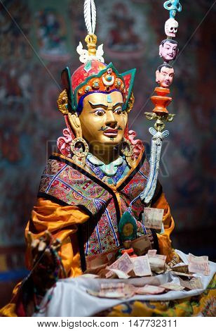 LEH, INDIA - JUNY 11, 2012: Beautiful statue of Guru Padmasabhava at Thiksey Gompa (Tibetan Buddhist Monastery) in Ladakh, Jammu and Kashmir, India. Thiksey monastery is located at an altitude of 3600 m. in the Indus Valley.