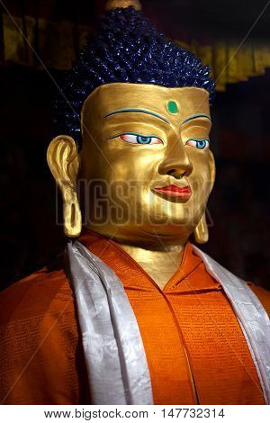 Statue Of Buddha At Hemis Gompa In Le, Ladakh, India