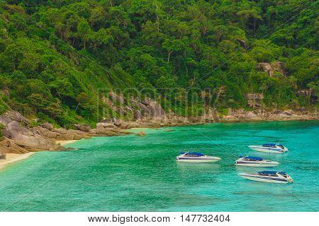 Tourist speedboats at the Bali Hai pier in Pattaya, Thailand