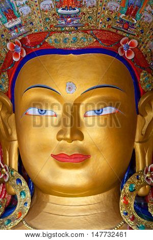 LEH, INDIA - JUNY 11, 2013: Beautiful sculpture of The Maitreya Buddha (Future Buddha) at Thiksey Gompa in Leh, Ladakh, Jammu and Kashmir state of India
