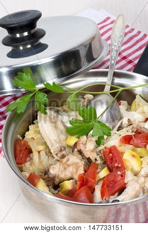 Ragout Of Vegetables With Chicken Cooked In Its Own Juice
