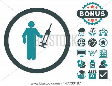 Drug Dealer icon with bonus symbols. Vector illustration style is flat iconic bicolor symbols, soft blue colors, white background.