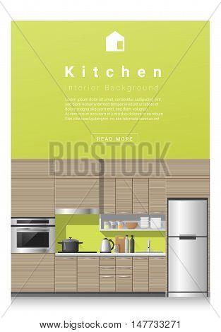 Interior design Modern kitchen banner , vector, illustration