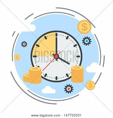 Time is money, time management, business planning flat design style vector concept illustration