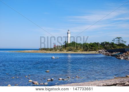View at the lighthouse Lange Erik at the northern point of the swedish island Oland in the Baltic Sea