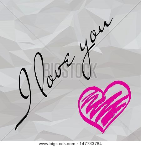 Crumpled paper love note. I love you scribble. Vector illustration.
