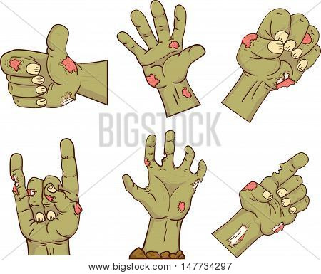 Set of icons, zombie hands. Collection of gestures dead zombie hands for the Halloween. Funny hand dead people design elements. Vector.