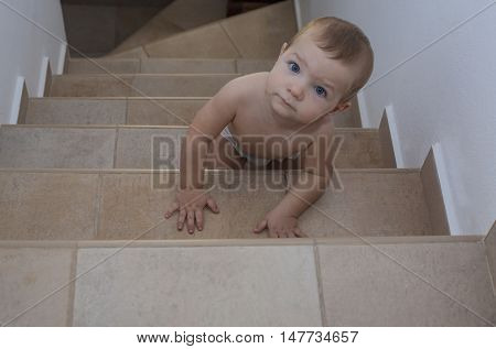 Baby boy crawling up the stairs. High angle view