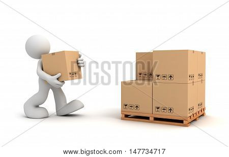 delivery man 3d illustration isolated on white background