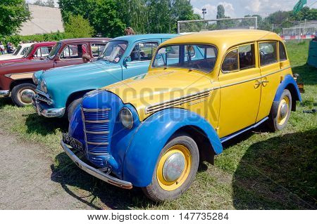 Kharkiv Ukraine - May 22 2016: Soviet retro car Moskvich 401 manufactured in 1953 exhibited at the festival of vintage cars Kharkiv Retro Rally - 2016 in Kharkiv Ukraine on May 22 2016
