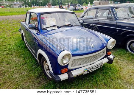 Kharkiv Ukraine - May 22 2016: Retro car blue Trabant 601S manufactured in 1967 is presented at the festival of vintage cars Kharkiv Retro Rally - 2016 in Kharkiv Ukraine on May 22 2016
