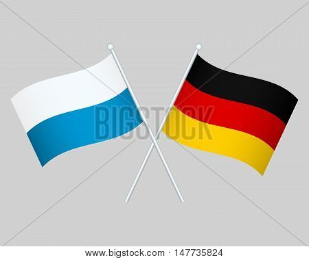 Official national flag of Germany and Bavaria background closeup