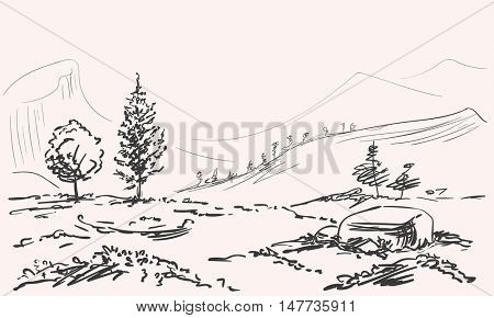Sketch of mountains landscape with tree and stone Hand drawn Vector illustration