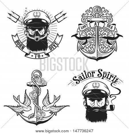 Set of nautical emblems. Diving emblems. Old captain with a pipe. Design elements for poster t-shirt. Vector illustration.