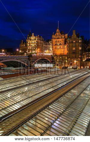 Old Town Of Edinburgh At Night