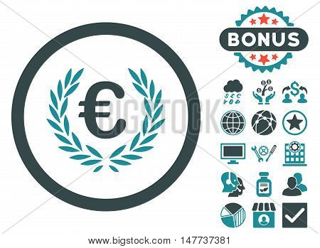 Euro Glory icon with bonus pictogram. Vector illustration style is flat iconic bicolor symbols, soft blue colors, white background.