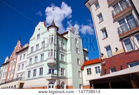 Part of buildings in the Rybnaya derevnya. Kaliningrad Russia.