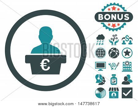 Euro Politician icon with bonus design elements. Vector illustration style is flat iconic bicolor symbols, soft blue colors, white background.