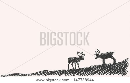 Sketch of two reindeer silhouette Hand drawn vector illustration