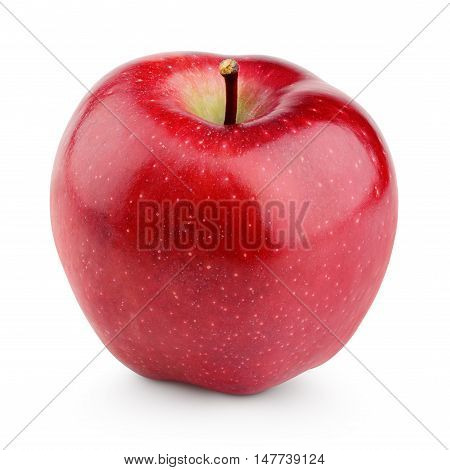 Single Fresh Red Apple With Stem Isolated On White