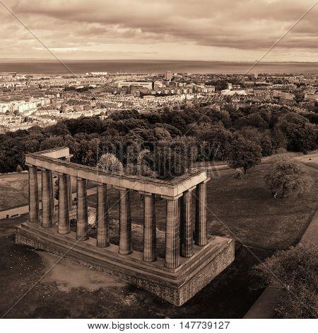 Edinburgh city skyline viewed from Calton Hill. United Kingdom.