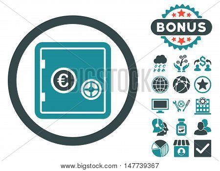 Euro Safe icon with bonus elements. Vector illustration style is flat iconic bicolor symbols, soft blue colors, white background.