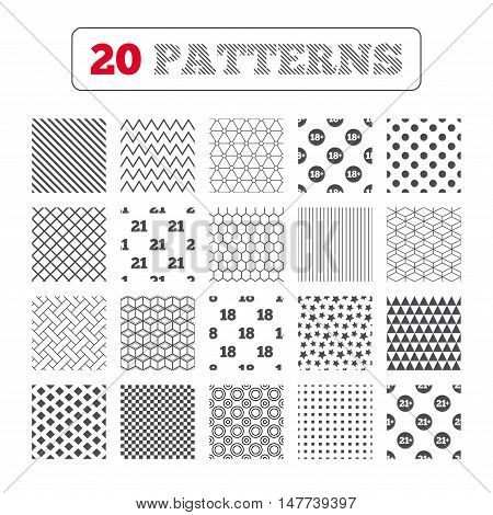 Ornament patterns, diagonal stripes and stars. Adult content icons. Eighteen and twenty-one plus years sign symbols. Geometric textures. Vector